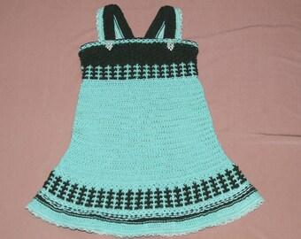 Knitted girl dress. Crochet girl dress. 100% cotton. Dress  Light green collor. Age 2-3