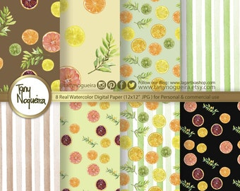 Citrus  Digital Paper watercolor hand painted  background fruits for blog cards invitations