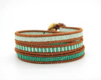 Green Ombre Wrap Bracelet on Dark Natural Leather