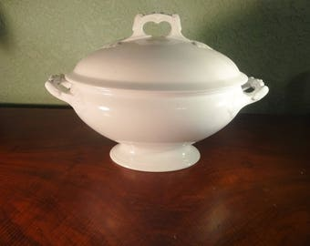 Antique White Ironstone Staffordshire Soup Tureen c. 1870, English Cottage, Vintage Dining