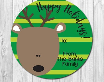 Holiday Gift Stickers, Personalized Reindeer Labels, Christmas Stickers, Happy Holidays, Round Gift Labels