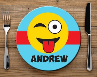 Emoji Melamine Plate for Kids, Silly Emoji Plate for Boys or Girls, Personalized Kids Plate for Dinner, Childs Melamine Plate