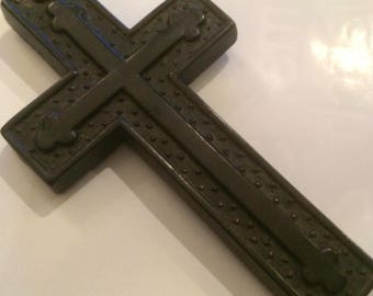 Victorian Bog Oak Crucifix and Jet Chain