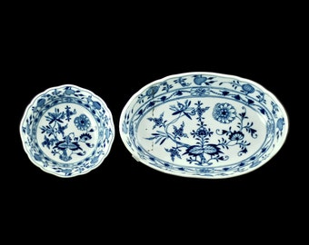 """Antique Meissen Porcelain """"Blue Onion"""" Staple Repaired Round and Oval Bowls"""