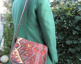 Ethno handbag genuine leather vintage bag leather Kilim Aztec aztek boho shoulder bag