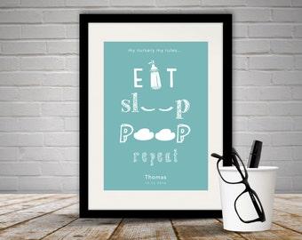 Personalised 'Eat, Sleep, Poop, Repeat' Print with Frame, New Baby Present, Newborn Present, Nursery, Nursery Decor, Nursery Ideas, Free P&P