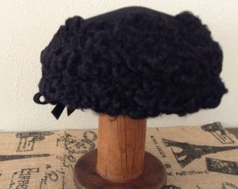 Vintage Persian Lamb Hat Black