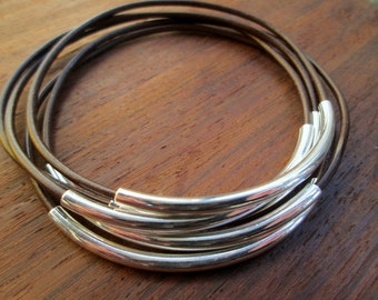 Brown Leather Bangle Bracelet Set, Women's Leather Bracelets, Thin Leather Stacking Brown Silver Tube Bangles, Boho Leather, Skinny Leather