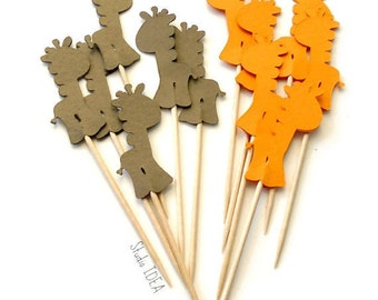 24 Orange & Brown Baby Giraffe Food Picks, Cupcake Toppers - Set of 24 pcs - or Choose Your Colors