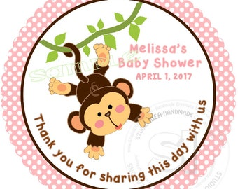 "Custom Monkey Printable Thank you Tag- 2.5"" Printable Baby Shower, Birthday Thank you Tags-Digital file"