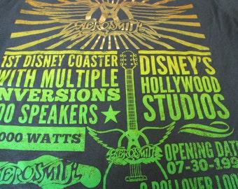 Disney Shirt. Vintage T-shirt. Graphic Tee. Top. Aerosmith Original Pre-Opening Rock And Roller Coaster Promotion. Music. Hard Rock Band.