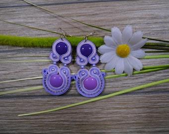 earrings / soutache technique / handmade 8cm (346)