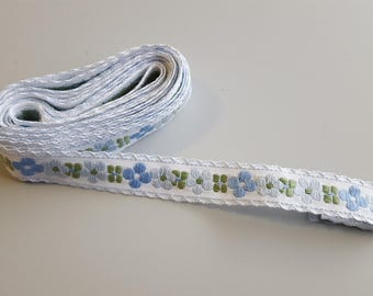 Blue Flower Ribbon Blue Green Ribbon Trim Flower Trim