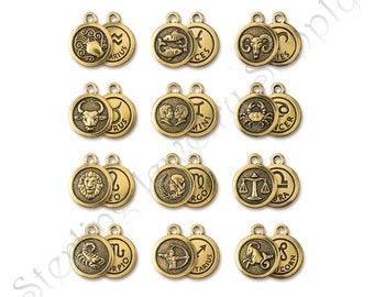 TierraCast Zodiac Charms, Antique Gold-Plated Double-Sided Astrology Charms, USA Seller, Authorized TierraCast Dealer, Fast Shipping (T911)