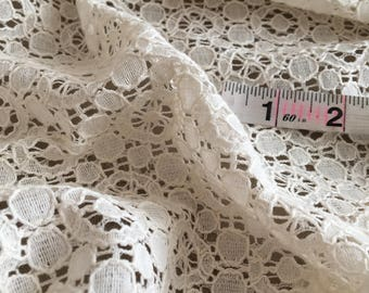 1.75 Yards Ivory Crochet Lace by the Yard, Crochet Fabric by the Yard,  Ivory Crochet by Yard, Yardage