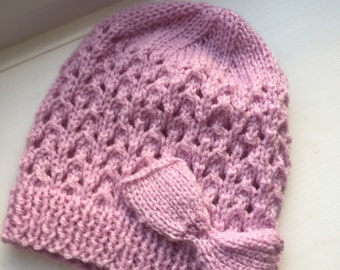 Hand knitted lace hat