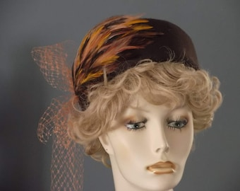 Chocolate brown felt hat, French vintage block, brown, gold, salmon feather pad, vintage veiling, vintage inspired toque, church, tea,winter