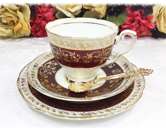 Royal Stafford English Tea Trio, Burgundy & Gold Lace Bone China English Tea Cup, Saucer, Plate For Tea Time, Tea Party, Wedding. #A176