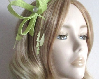 CITRUS LIME  GREEN Fascinator, Made of Sinamay, with coque feathers,clear rhinestone,on a comb