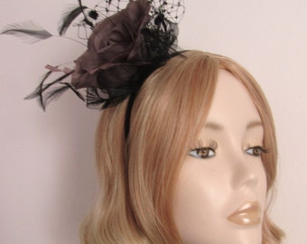 TAUPE and BLACK FASCINATOR, Taupe flower, feathers and widow net, on small satin headband