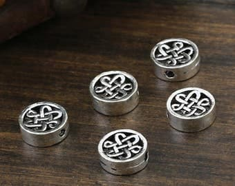 5 Sterling Silver Celtic Beads, Sterling Celtic Beads, 925 Silver Celtic Beads, Flat Round Beads, Greek Beads, Spacer Beads 10mm - FT156