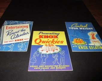 Vintage Knox Gelatin Cook Booklets, Recipe books, three, Household hints, diet, booklets, 1930's , pristine