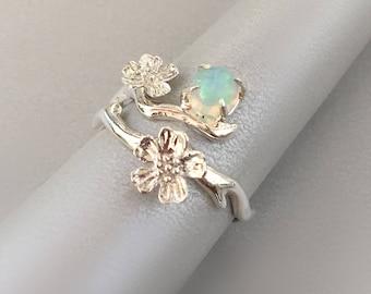 Opal Ring / Sakura Ring / Opal Ring / Flower sterling silver ring / Cherry blossom ring
