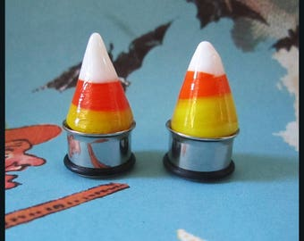 "Glass Candy Corn Halloween EAR TUNNEL PLUG horror Earrings you pick gauge 2g, 0g, 00g, 1/2"", 9/16"" aka 6mm, 8mm, 10mm, 12mm, 14mm"