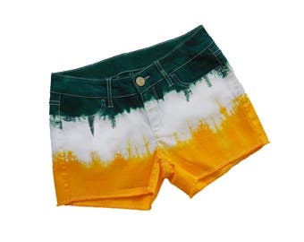Green+ Bright Gold Tie-Dye Shorts