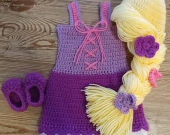 Rapunzel Crochet Outfit- princess crochet outfit- photo prop- newborn outfit