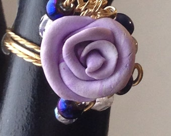 RR22g, lavender,  rose ring, purple crystals, silver wire, size 8