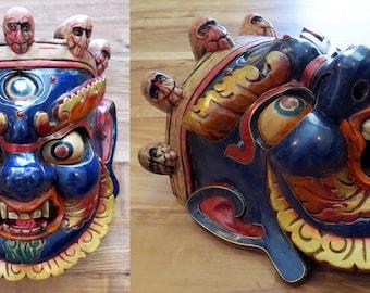 Bhairava/Bhairav/Shiva Wood Mask + Stone Inlay: Nepal Tibet Buddhist Hindu carving wall hanging lapis lazuli blue