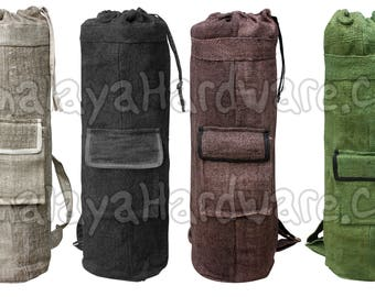 100% Hemp Yoga Mat Bag: organic fitness pilates backpack zipper black green white brown
