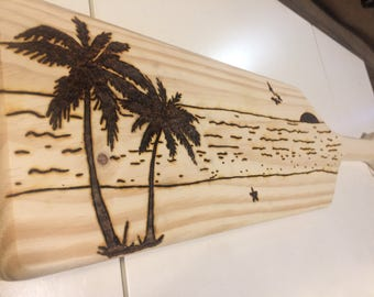 Tropical Beach Themed Wood Burnt Paddle