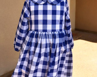 Leighton Peter Pan Collar Long Sleeve Dress - Navy Gingham