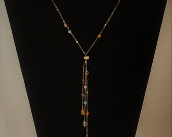 Cascading Rose Gold Lariat Necklace