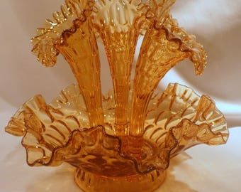 Rare Fenton Amber Thumbprint 3-Horn Epergne, Centerpiece, Colonial Amber