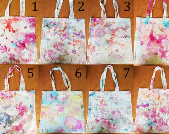Unique handmade design tie dye tote bags. FrancescaRoseJ.Only one available of each, choose which one you would like from the dropdown menu.