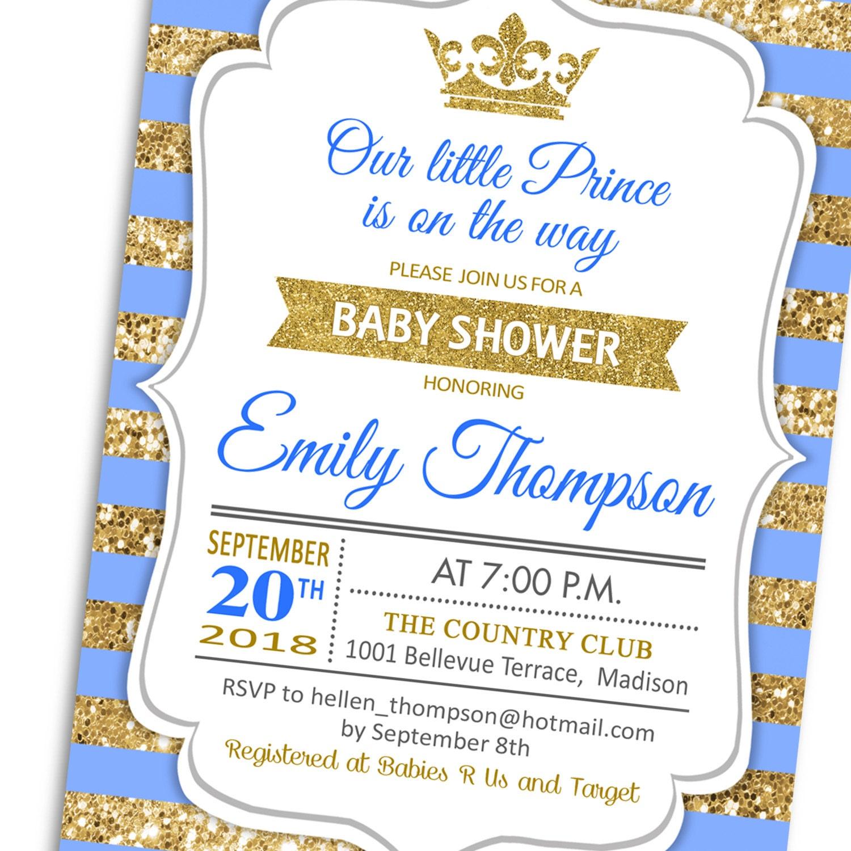 Baby Shower Invitation / Gold Blue White / Digital Glitter Gold / Royal  Baby Shower /