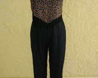 Vtg Vintage Black Leopard Print Fringe Jumpsuit Romper Pants