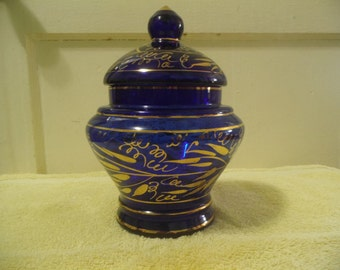 Vintage Cobalt Blue Glass Urn with Gold Gild Accents