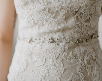 Silver Crystal Bridal Sash   Silver Rhinestone Wedding Sash   Crystal Bridal Belt   Wedding Dress Sash Belt   Silver Lourdes Bridal Sash