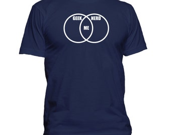 Geek-Nerd Venn Diagram. Mens T-shirt. Premium quality. Ringspun soft.