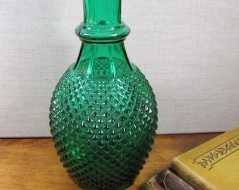 Emerald Green Glass Vase - Diamond Shaped Paneled