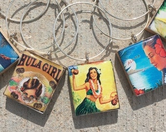 Scrabble Tile Wine Charms, Hula Girl Wine Charms, Wine Charms, Hawaiian Wine Charms, Wine Lover's Gift