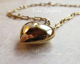 Puff Heart Choker - Gold Tone Puff Heart Pendant - Double as a Bracelet. Shipping Included!