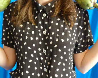 black and white shirt with polka dot vintage 90s