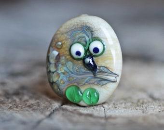 Handmade Lampwork Glass Owl 33x11x20 mm Beige Green Brown Color Green Forest Bird