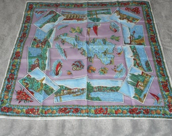 vintage French used head scarf with vibrant design