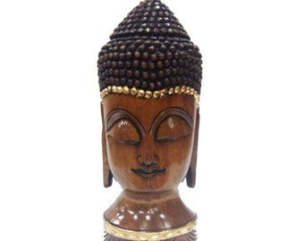 """Wooden Hand Carved Buddha Face """"10 Inches'"""